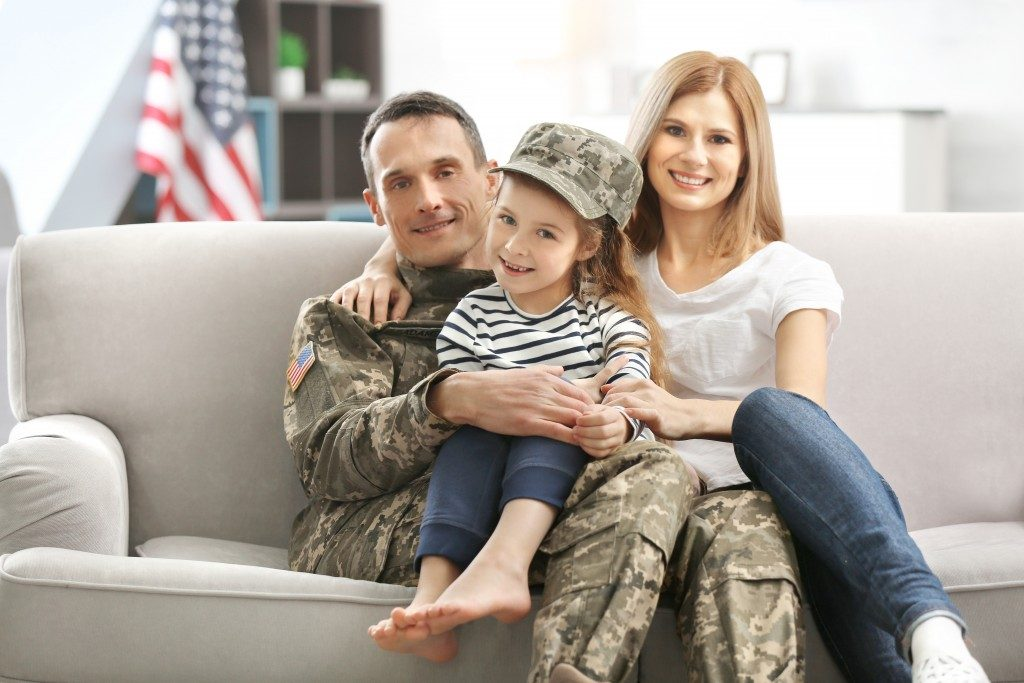 Solider with his family