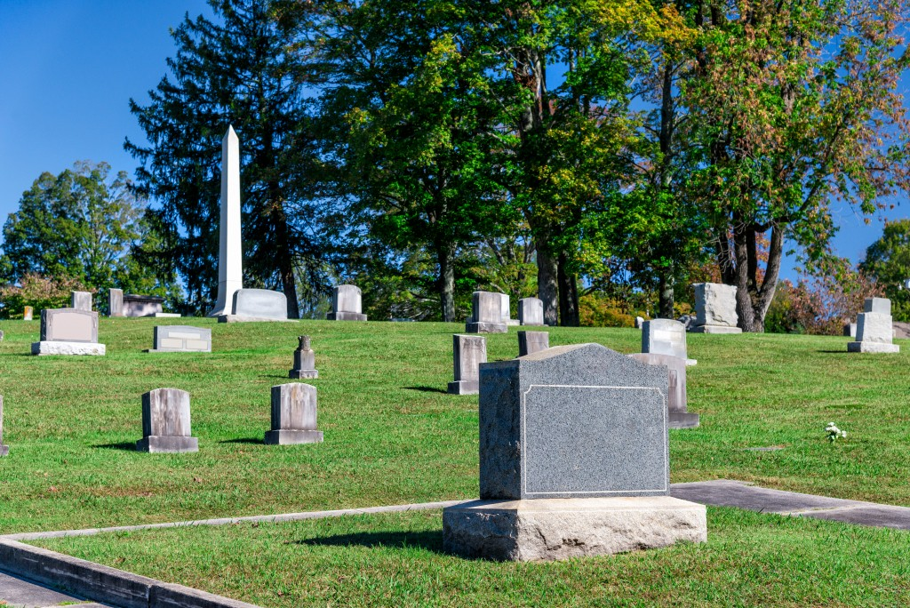 Tombstones without names in a cemetery