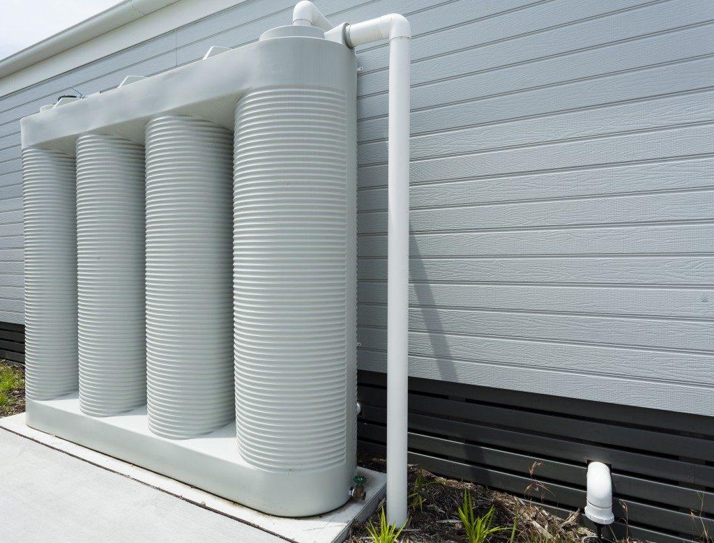 White residential rainwater tank