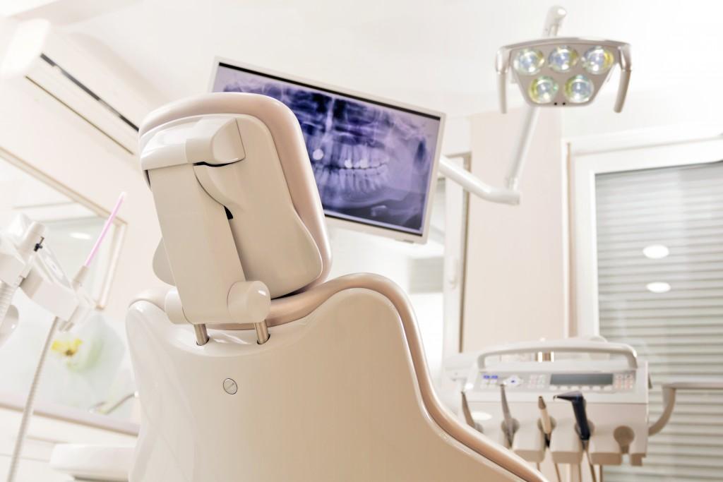 dental chair in dental examination room