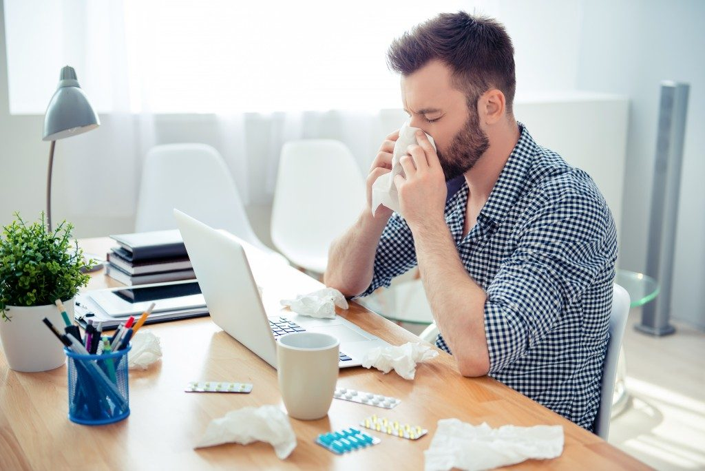 Man sick in his office