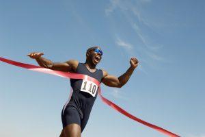 Man reaching the finish line