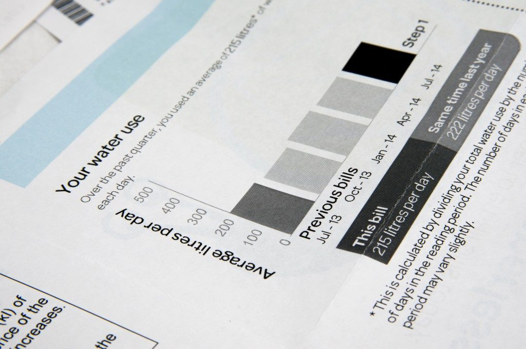 Water bill closeup