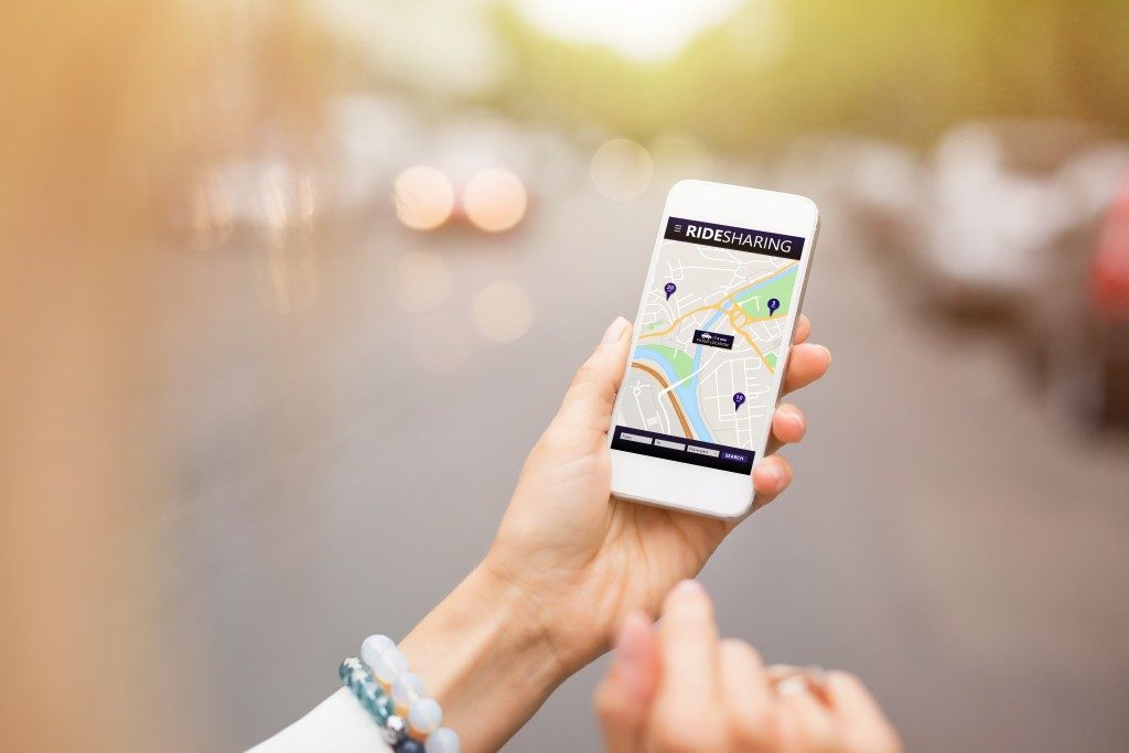 Ridesharing app on mobile phone