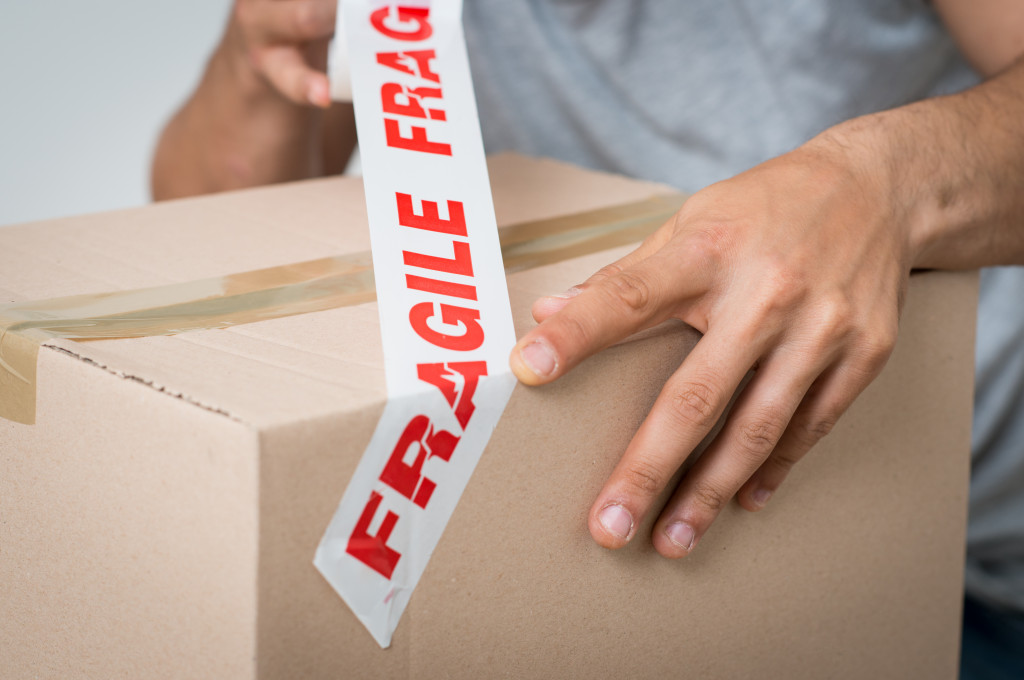 fragile tape on package