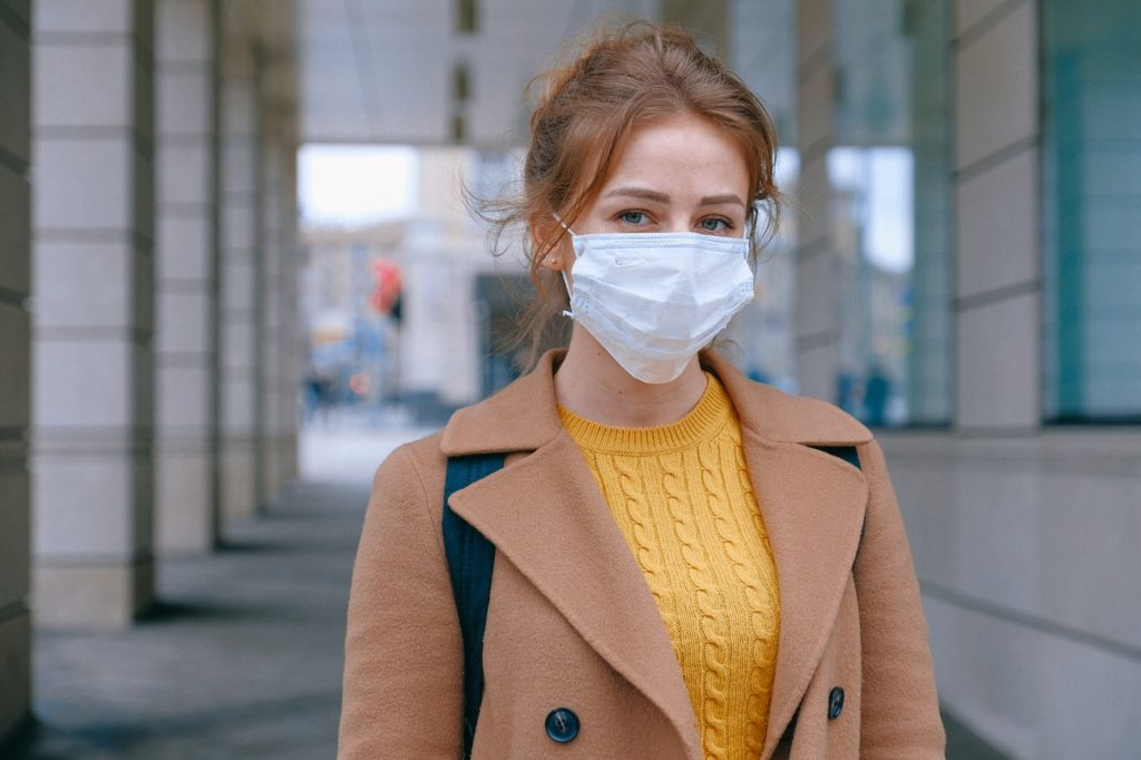 college student wearing mask