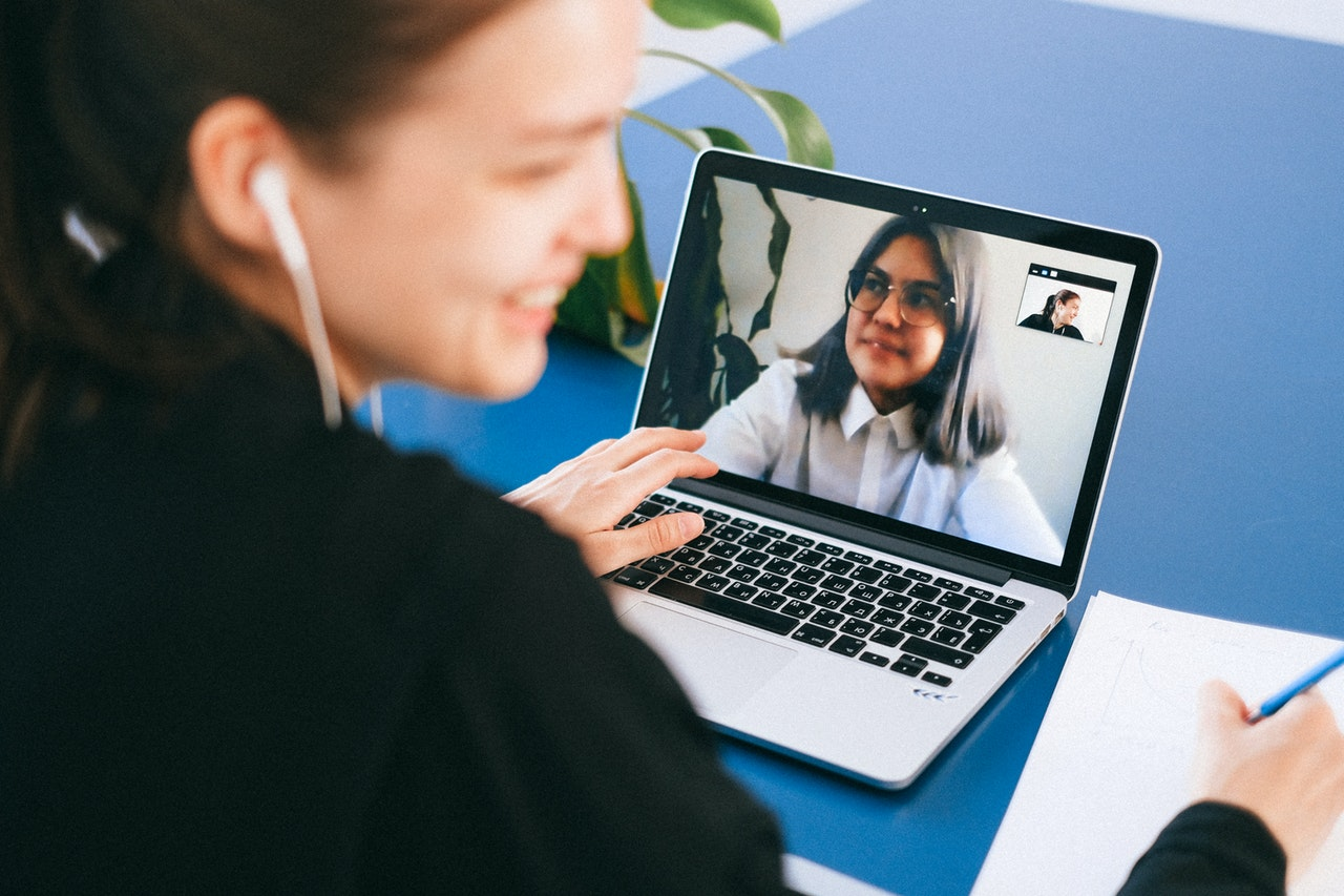 woman in a video call