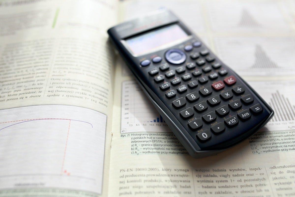 scientific calculator on a book