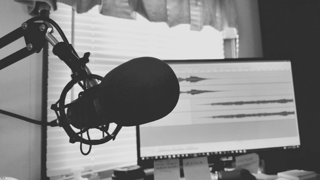 grayscale photo of a microphone