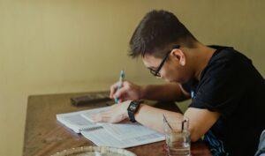 Man writing on something